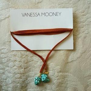 Vanessa Mooney leather/turquoise stone necklace